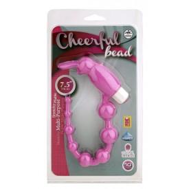 Розовая анальная цепочка с виброзайкой на кончике CHEERFUL BEAD RABBIT